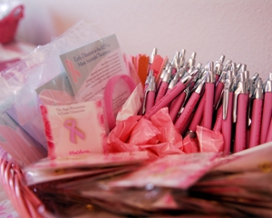 Breast cancer awareness ribbons and pens
